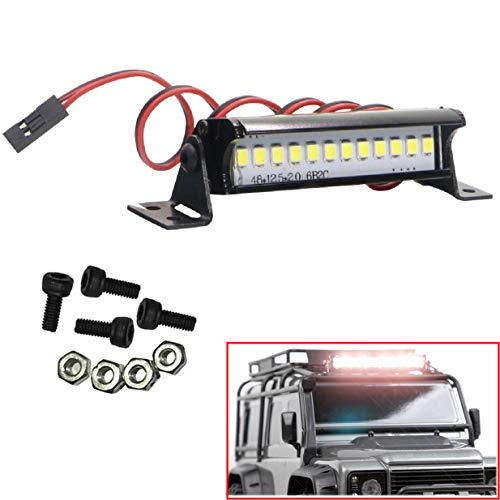 ShareGoo RC 12 LED Light Bar Metal Roof Lamp for Traxxas TRX-4 SCX10 KM2 CC01 RC4WD D90 90046 90047 RC Crawlers,50mm/1.97""