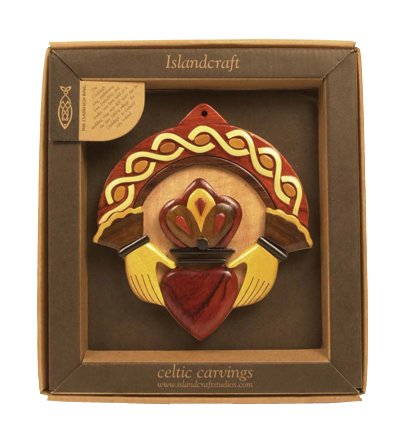 Irish wood carving of the Irish Claddagh Ring - the ring symbolises Love, Loyalty and Friendship. An Irish gift shipped from Ireland.