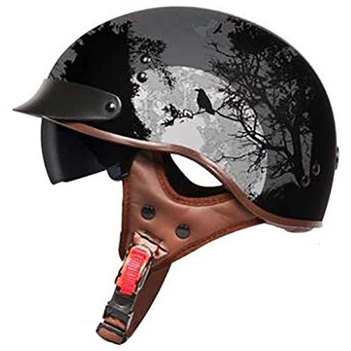 ZLYJ Retro Casco Moto Abierto, Estilo Harley Casco, Motocicleta Helmet, Incluye Visera, Jet Cascos para Mofa Crash Cruiser Scooter Biker Racing, ECE Homologado B,XXL