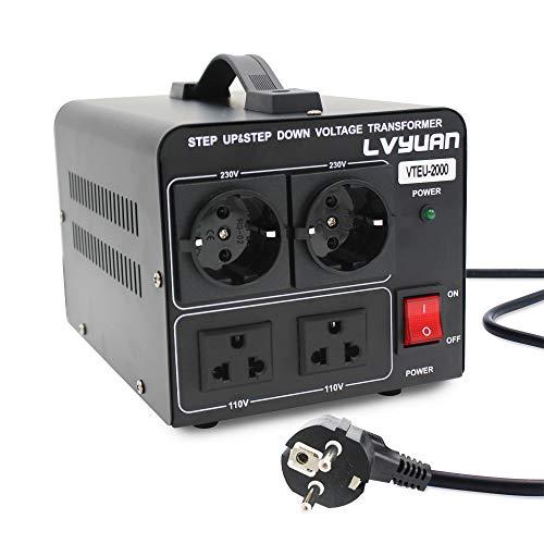 Cantonape 2000VA Convertidor de Voltaje 220V / 110V, Transformador Elevador/Reductor de Voltaje de 2000 Vatios EE.UU,Salida 110/120 Voltios 220/230 Voltios CA