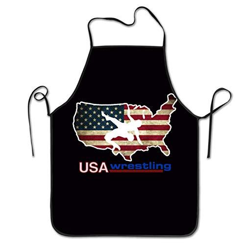N / A Unisex Latzschürze Usa Wrestling Wasserdicht Küchenschürze Einstellbar Kochschürze Profiqualität Grillschürze BBQ Aprons Für Männer Frauen