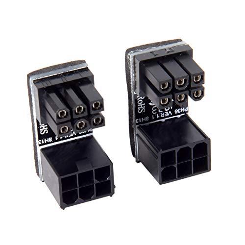 ATX 6-polige Buchse auf 6-poligen Stecker, 180 Grad abgewinkelter Netzadapter für Desktop-Grafikkarte