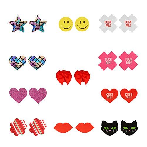 Liebe Seele Nipple Cover Brustwarzenabdeckung Sets in verschiedenen Formen und Farben, 10 Stück & 1 Geschenk Selbstklebende Nippelabdeckungen (Helle Farbe)