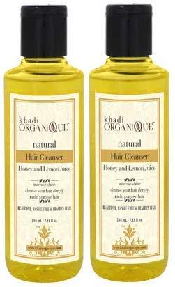 Glamorous Hub Khadi Organique Limpiador de cabello con miel y jugo de limón (champú), paquete de 2 (el paquete puede variar)