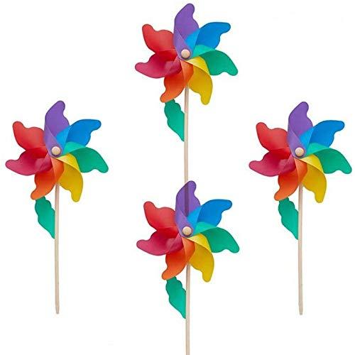 Modou 4er-Set Windspiel, Windmühle Windrad für Garten & Kinder Gartenstecker,UV-beständig und wetterfestals Garten-Deko& Vogelschreck - Windrad: 24cm, Standhöhe: 56cm