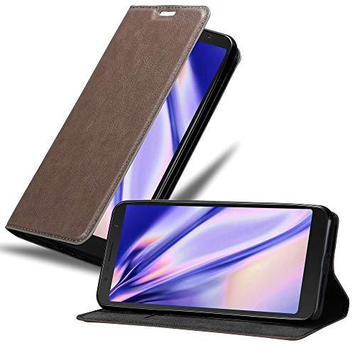 Cadorabo Hülle für Alcatel 3C in Kaffee BRAUN – Handyhülle mit Magnetverschluss, Standfunktion & Kartenfach – Hülle Cover Schutzhülle Etui Tasche Book Klapp Style