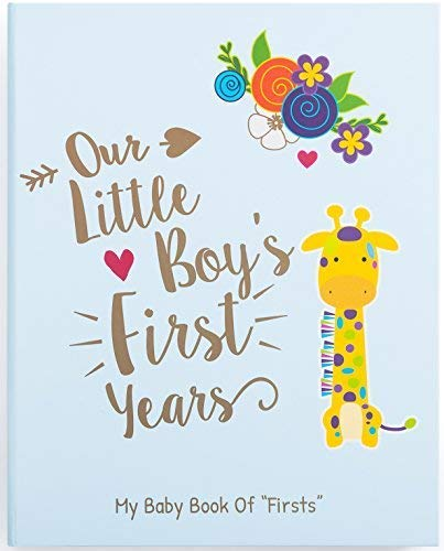 Ronica Memory Book for Baby Boy, Photo Album, Easy to Use Keepsake Scrapbook, Modern Baby Shower Gift and Keepsake for New Parents to Record Photos and Milestones