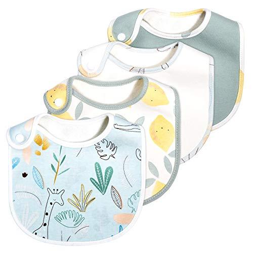 momcozy 4er Pack Baby Lätzchen, 100% Bio-Baumwolle Vorne und Bambus Handtuchrücken, Super Weich & Saugfähig, Halstücher Drool Lätzchen für Jungen und Mädchen