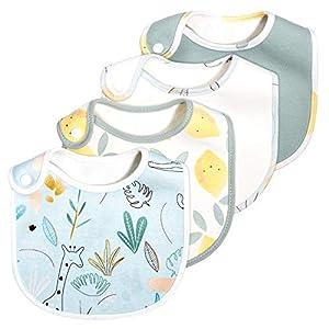 4er Pack Momcozy Baby Lätzchen, 100% Bio-Baumwolle vorne und Bambus Handtuchrücken, Super Weich & Saugfähig, Halstücher Drool Lätzchen für Jungen und Mädchen