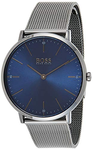 Hugo Boss Herren Analog Quarz Uhr mit Edelstahl Armband 1513734