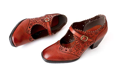 CrazycatZ Leather Mary Jane Shoes,Womens Colorful Patchword Block Heel Pumps Vintage Mary Jane Shoes (D01, Numeric_7)
