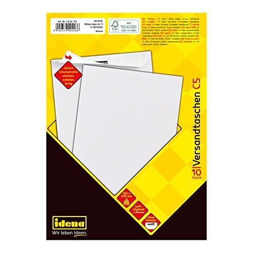 Idena 10226 - Versandtasche C5, 90 g/m², haftklebend, ohne Fenster, weiß, 10 Stück