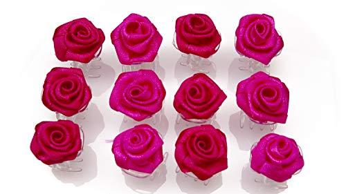 OiA 12 Stück Haarspangen mit Rosen   Haarschmuck für Frauen, Kinder, Haarnadeln, Blumen für Frisuren   Farbe: 3 Schattierunge (Fuchsia)