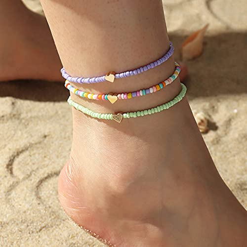 Boho Beads Multilayered Love Heart Women Anklets Colorful Women Ankle...