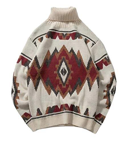 H&E Damen Rollkragenpullover, gestrickt, Kontrastfarben Gr. M, weiß