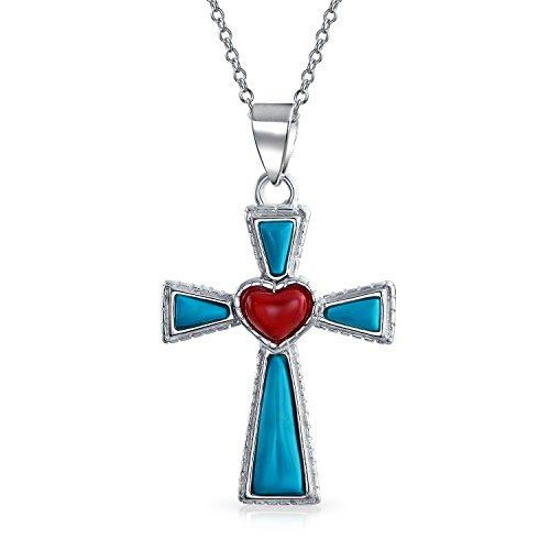 Southwestern estilo piedra preciosa azul estabilizado turquesa cruz del corazón rojo colgante religioso 925 collar de plata de ley para las mujeres adolescentes