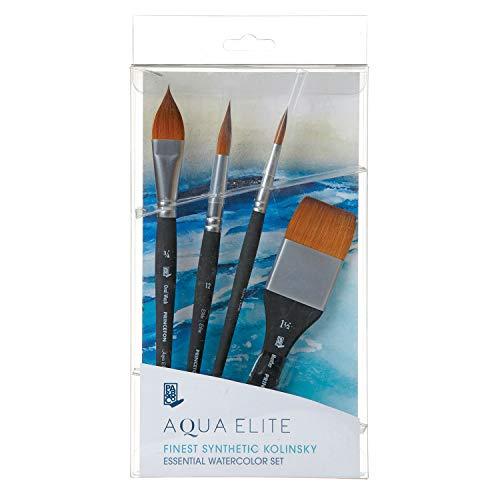 Princeton Aqua Elite, Series 4850, Synthetic Kolinsky Watercolor Paint Brush, Box Set of 4