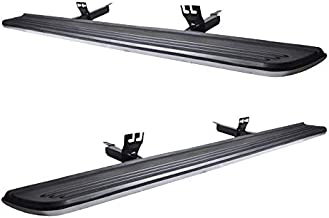 Running Board Compatible With 2003-2012 Land Rover Range Rover (NOT FIT SPORT), Factory Style Brushed Silver Rubber Black Side Step Bars Extensions by IKON MOTORSPORTS, 2004 2005 2006 2007 2008 2009