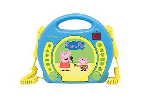 Peppa Pig - Lector CD con 2 micrófonos, infantil (Lexibook RCDK100PP)