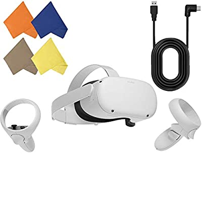 Oculus Quest 2 — Advanced All-in-One Virtual Reality Gaming Headset — Family Christmas Holiday Bundle — White — 64GB Video — BROAGE 4 Colors Glasses Cleaning Cloth & 15ft USB Type-C Link Cable