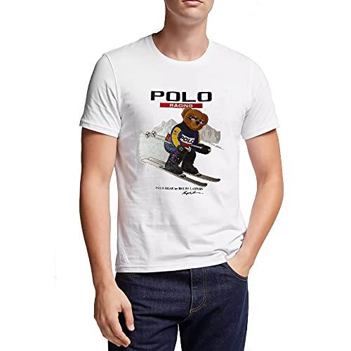 Polo Ralph Lauren Camiseta para Hombre Polo Bear Racing (XL, White)