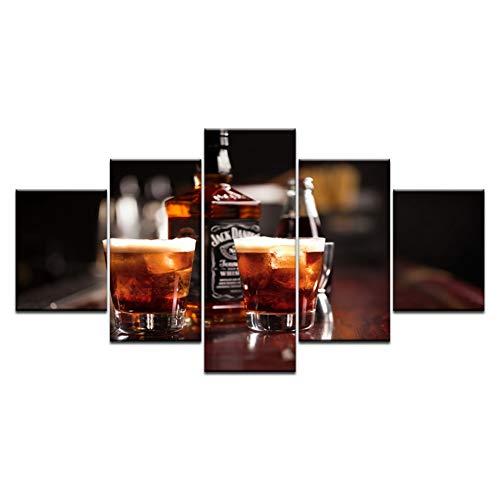 MMLFY 5 opeenvolgende schilderijen modulaire afbeeldingen 5 panelen champagne whisky bierbar likeur poster muurkunst schilderij bar restaurant decor