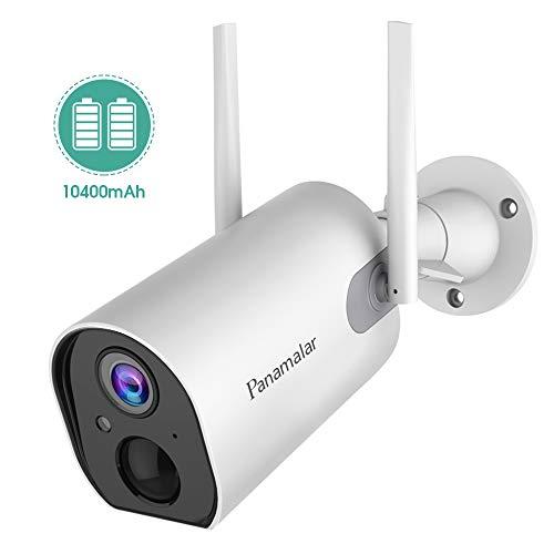 Panamalar 10400mAh Akku Outdoor Kamera, Kabellos WLAN 1080P Außen Überwachungskamera mit Batterie/PIR Bewegungsmelder/2-Weg-Audio/Nachtsicht/IP65 Wasserdichtes, Dratlose Batterie Aussen Kamera