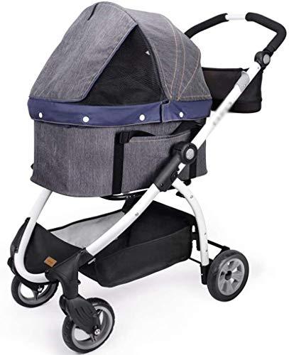 LAZNG Pet Bag Pet Stroller for Katzen/Hunde, Easy One-Hand Falten, Luftreifen, Becherhalter + Storage Basket,...