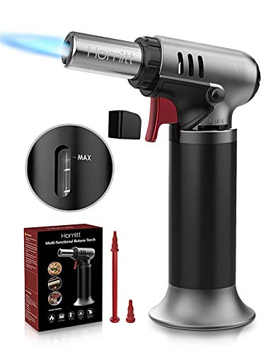 Homitt Blow Torch, Adjustable Flame Refillable Butane Torch with Safety Stopper and Continuous Lock, Kitchen Cooking Torch Lighter for Crafts Cooking BBQ Baking Soldering(Butane Gas Not Included)