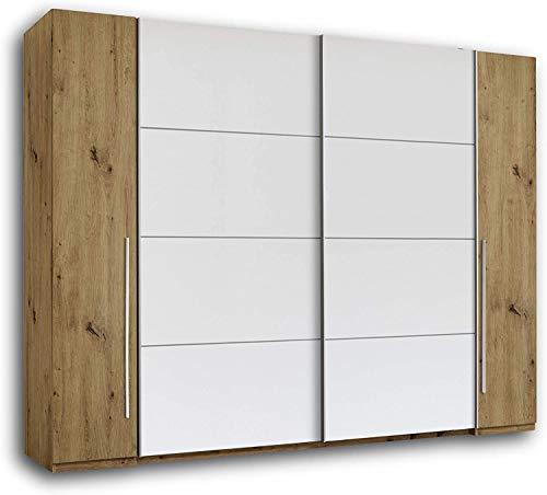 Multifunzione armadio scorrevole, linee pulite del design moderno un sacco di spazio di archiviazione, adatto per camera da letto,Yellow wood color