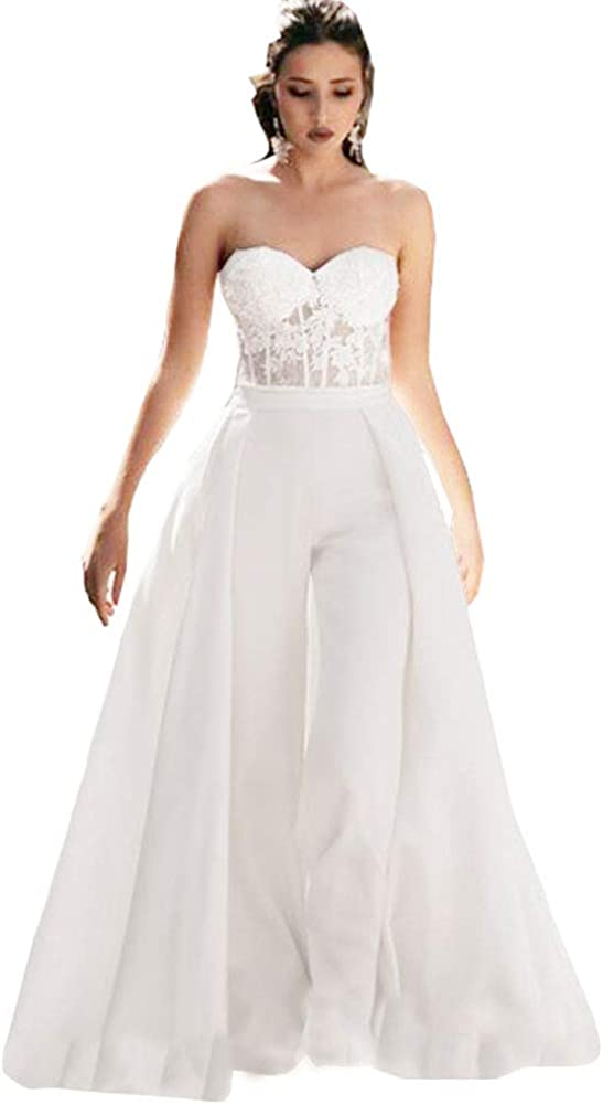 Honeydress Women's Strapless Sweetheart Jumpsuit Prom Dress with Waist Cloak Pants Wedding Dress
