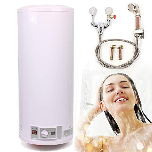 Termo Eléctrico de agua eléctrico Calentador de agua de 2KW de suspensión vertical Caldera de pared Con set de ducha, presostato y seguridad para niños, 30-75 ° C, 50/80/100/120 litros (100L)