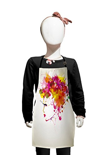Lunarable Abstract Apron, Watercolor Portrait of a Woman with Floral Hairstyle Paint Splatters, Small Apron Bib with Adjustable Ties for Baking Painting, Small Size, Orange Green