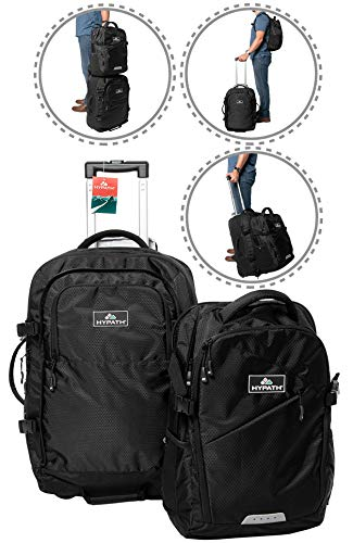 Hypath 2-in-1 Convertible Travel Bag - Use as Backpack with Wheels, Wheeled Carry On, or Stacked Rolling Luggage - Comes with Detachable Daypack - New Upgraded Version 3 Here