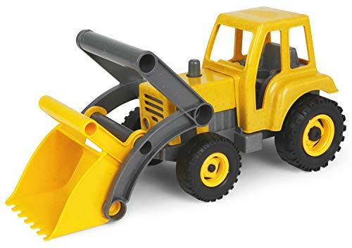 Lena 4006942792306 4213 EcoAktives Traktor mit Frontlader, Nutzfahrzeug ca. 35 cm, robuster grüner Trecker mit Schaufel, natürlicher Holzgeruch durch ökologischen Holzanteil, Spielfahrzeug für Kinder ab 2 Jahre