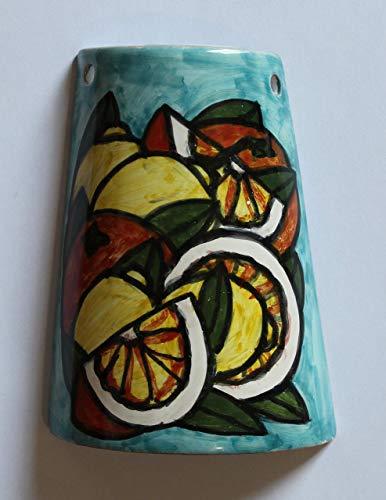 Naranjas y limones - Teja de cerámica hechas a mano, base 10.8 cm y a