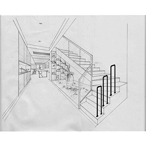 TELLMNZ Handrail Brackets U-Shaped Matte Black Galvanized Pipe Stair Handrail Elderly Children Safety Assisting Rails for Villa Hotel Garden