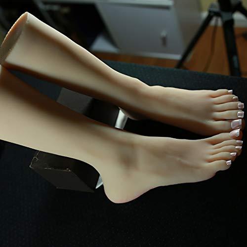 1 Paar Silikon Schuhspanner Weibliche Fuß Schaufensterpuppe Schuhformer Fußkettchen Socken Display Lebensechte Fuß Modell Mit Nagelschaft Version 40 Größe,Skintone,Right