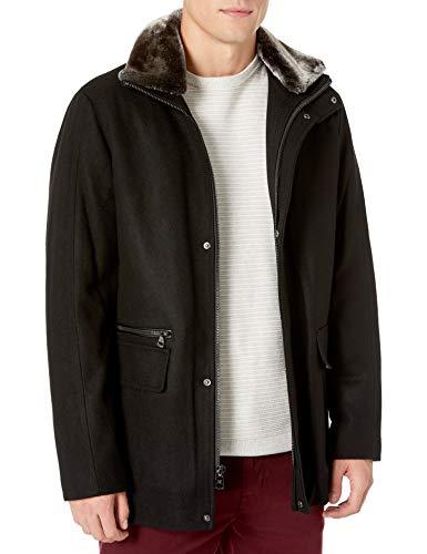 Calvin Klein Men's Wool Car Coat with Faux Fur Collar, black, Medium
