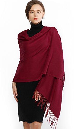 RIIQIICHY Invernale Sciarpa Scialle Pashmina da Donna Elegante Lungo Morbida Calda Stole Sciarpe Borgogna