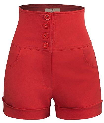 Women's High Waist Short Pants Buttons Two Open Pockets Size 2XL Red