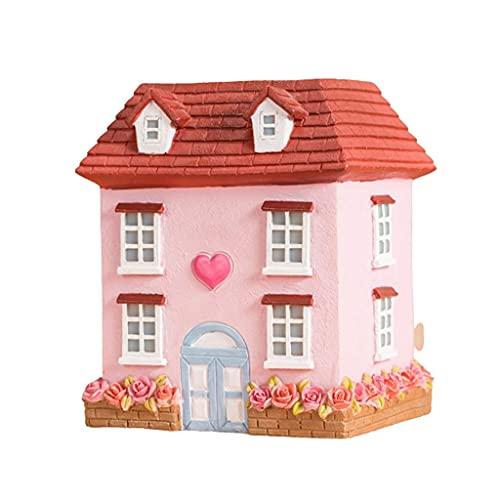 YANSJD WYJW Piggy Bank Cute House, Creativo Banco de Monedas de Resina, Tanque de Monedas para niños y niñas, Regalos, Banco de Monedas, decoración de Escritorio, Rosa (Color: Rosa)