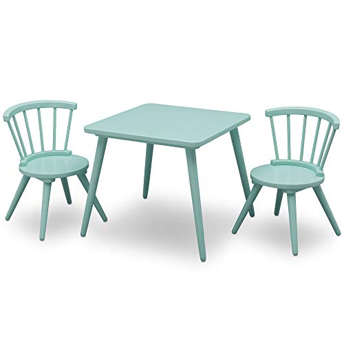 Delta Children Windsor Kids Wood Table Chair Set (2 Chairs Included) - Ideal for Arts & Crafts, Snack Time, Homeschooling, Homework & More, Aqua