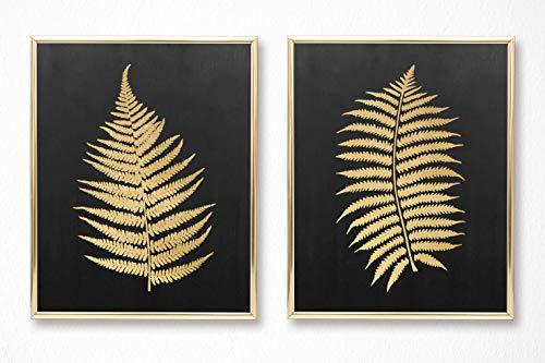 Brooke & Vine Botanical Prints Wall Art - Gold Look Fern Leaves (UNFRAMED 8 x 10 - Set of 2 on Card Stock) Boho Decor, Bohemian Living Room Bedroom Bathroom Entry Way Office - Gold Fern Black Chalk