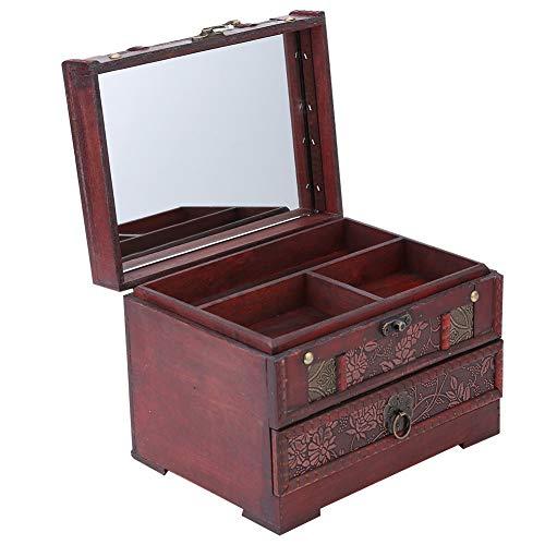 Voluxe 1 Unidad de Caja de Almacenamiento de Regalo de joyería de Madera clásica, Organizador de Pecho con Espejo para mamá