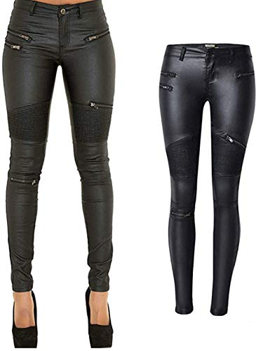 PU Leather Pants for Women Sexy Tight Stretchy Rider Leggings Black Faux Leather Pants for Women Pleather Pants Leggings with Zipper US 12