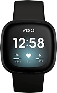 Fitbit Versa 3, Health & Fitness Smartwatch with GPS, 24/7 Heart Rate, Voice Assistant & up to 6+ Days Battery, Black/Blac...