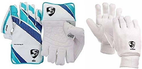 SG Combo of Two, one Pair of  Club  Cricket Wicket Keeping Gloves and one Pair of  League  Inner Gloves (Men s) Cricket Kit