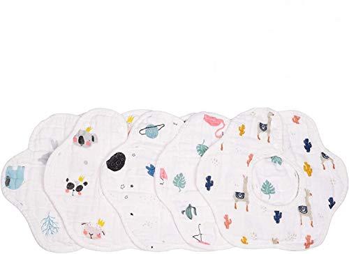 Bebé Transpirable Bib Saliva Toalla, Algodón Impermeable 6 Capa 360 ° Girar Pétalo Absorción Bandana Babero Paños de eructo para bebés pequeños babeando Alimentación de dentición (5 PCS Cotton)