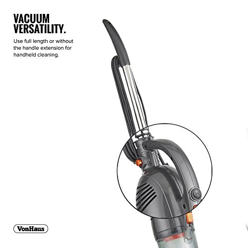 VonHaus 2 in 1 Stick & Handheld Vacuum Cleaner - 600W Corded Upright Vac with Lightweight Design, HEPA Filtration, Extendable Handle, Crevice Tool and Brush Accessories - Ideal for Hardwood Floors